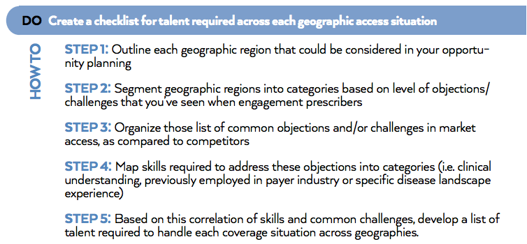 Create a checklist for talent required across each geographic access situation.png